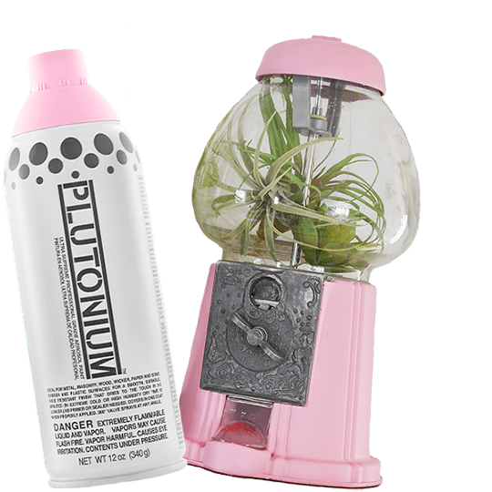 Plutonium Paint Manko is used to paint a gumball machine repurposed as a planter.