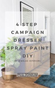 Pinterest pin image of 4-step campaign dresser spray paint diy