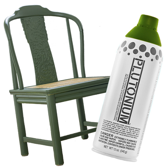 Dining Chair Spray Painted with Plutonium Paint Mofunk Green