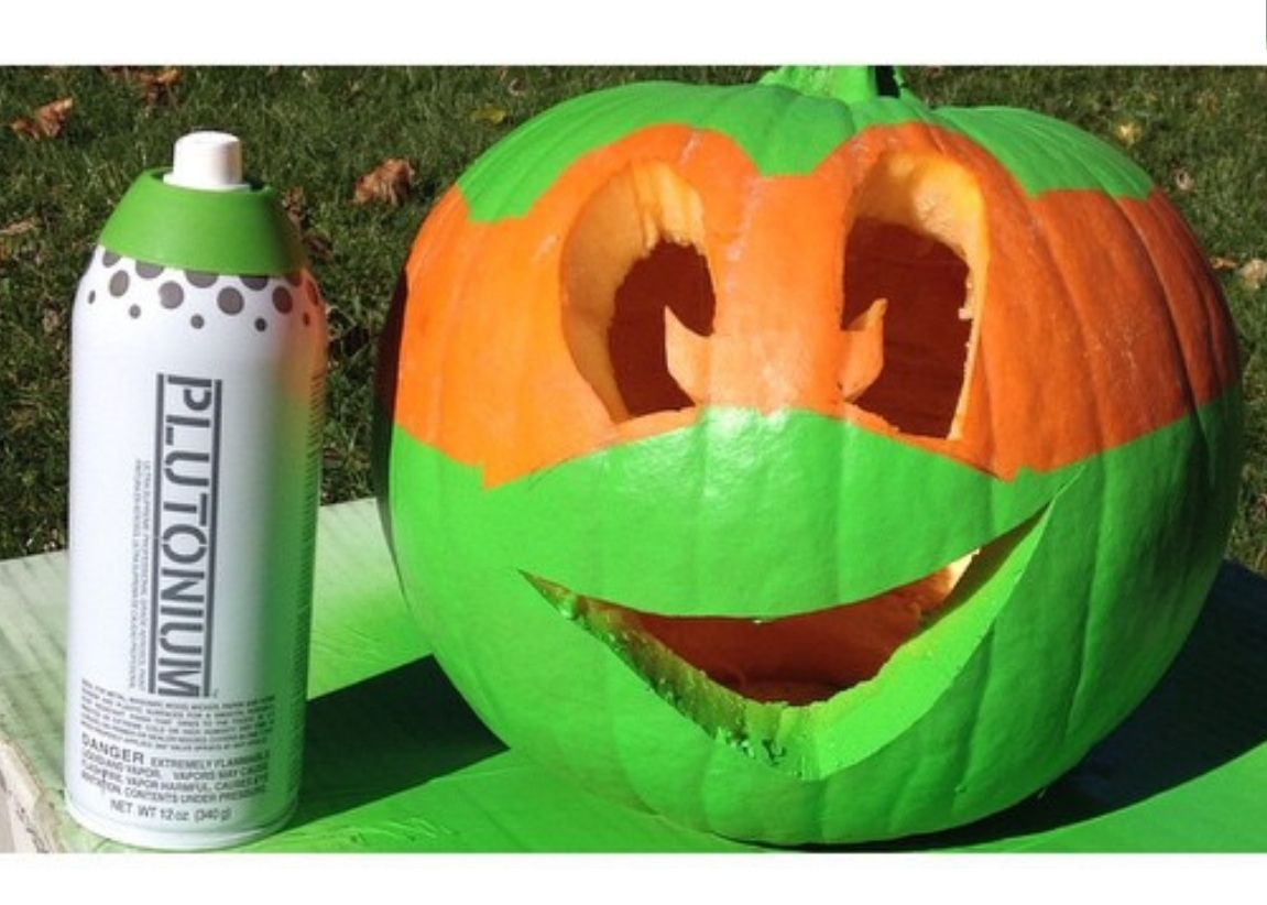 No Carve Pumpkin: Cowabunga Pumpkin. Spray Paint Pumpkin Projects