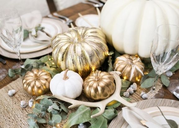 Chic Gold and White Spray Paint Thanksgiving Centerpiece